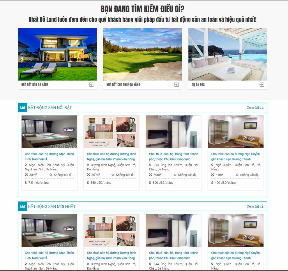 Website công ty cho thuê nhà Đà Nẵng Nhất Đô Land
