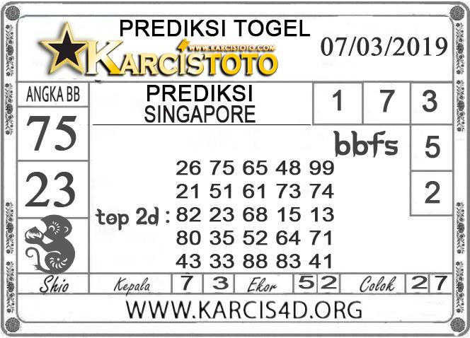 Prediksi Togel SINGAPORE KARCISTOTO 07 MARET 2019