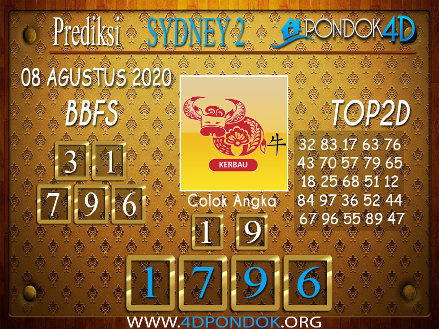Prediksi Togel SYDNEY 2 PONDOK4D 08 AGUSTUS 2020