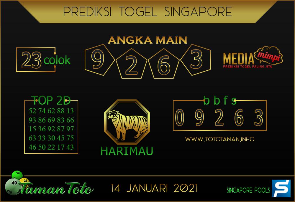 Prediksi Togel SINGAPORE TAMAN TOTO 14 JANUARI 2021