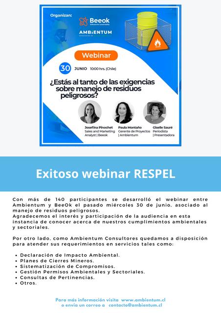Exitoso webinar RESPEL