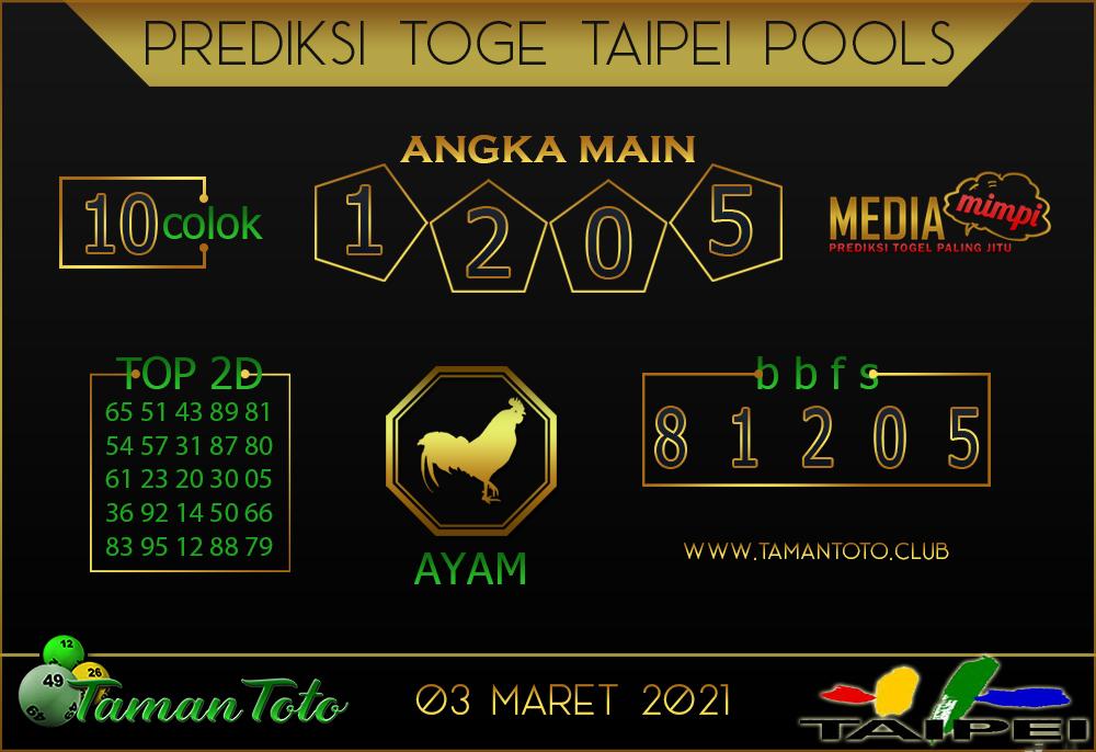 Prediksi Togel TAIPEI TAMAN TOTO 03 MARET 2021