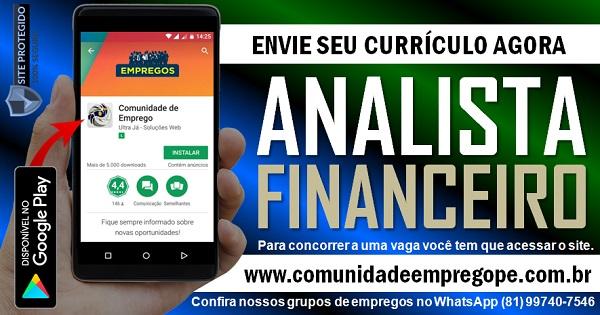 ANALISTA FINANCEIRO COM SALÁRIO DE R$ 2000,00 PARA JABOATÃO DOS GUARARAPES
