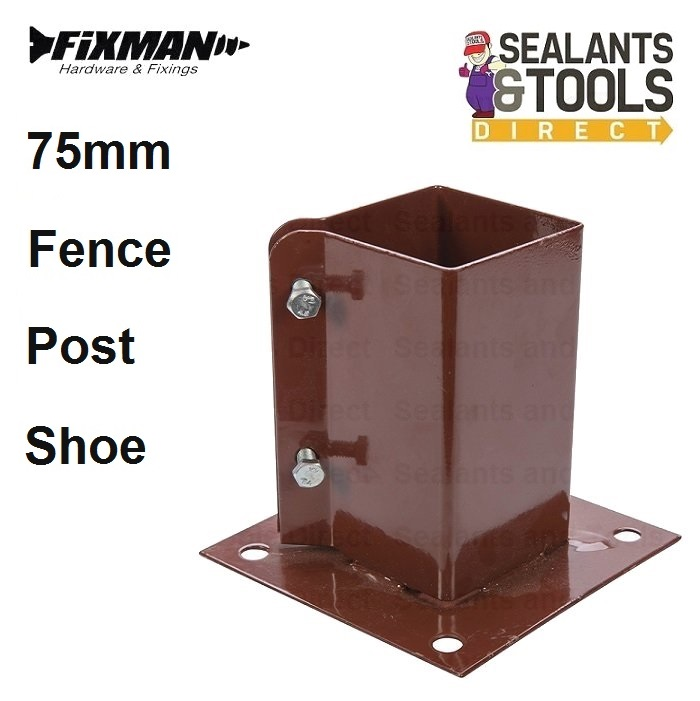 Fixman Bolt Down Clamping Garden Fence Post Metal Shoe 75mm 3 Inch Timber