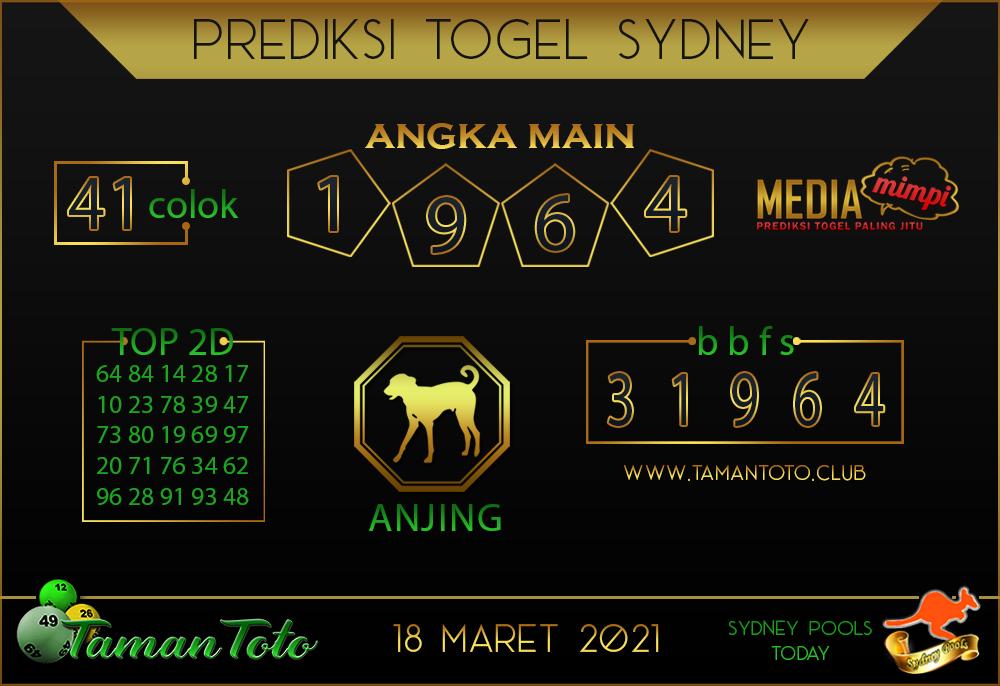 Prediksi Togel SYDNEY TAMAN TOTO 18 MARET 2021