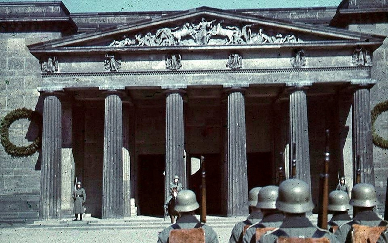 Photo in color of celebration of the 50th anniversary of Adolf Hitler