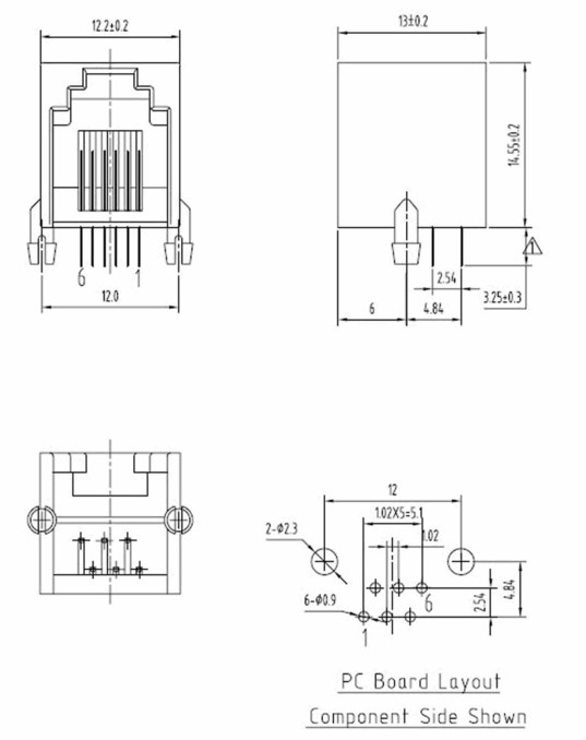 RJ11-6-Pin-Telephone-Modular-Connector-Female-PCB-Mount