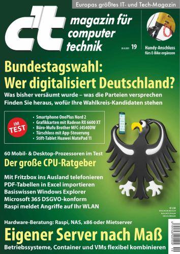 Cover: ct Magazin für Computertechnik No 19 vom 28  August 2021