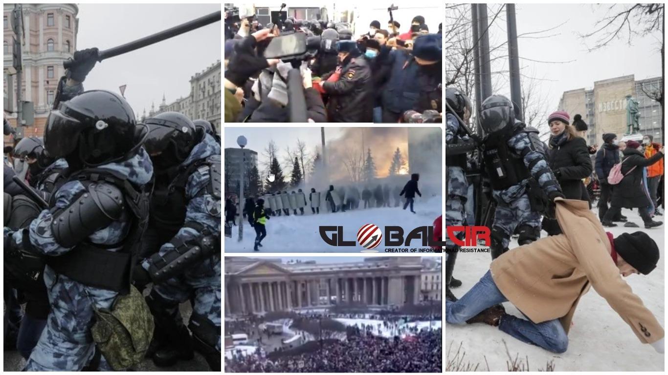 (FOTO/VIDEO) Maltretiranje i juriš na demonstrante, razbijanje kordona: Ovo su najdramatičniji prizori protesta u Rusiji!