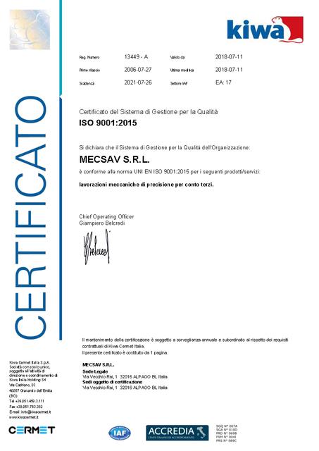 MECSAV Certificato