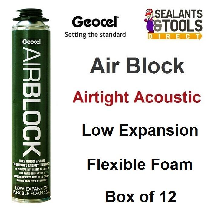 Geocel AirBlock Air Tight Acoustic Expanding Foam 750ml Box of 12
