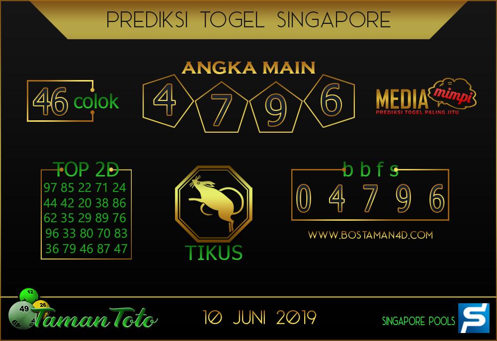 Prediksi Togel SINGAPORE TAMAN TOTO 10 JUNI 2019