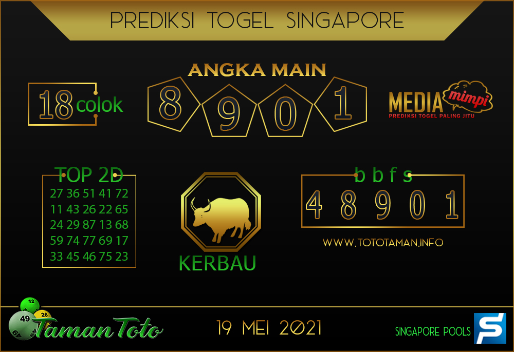 Prediksi Togel SINGAPORE TAMAN TOTO 19 MEI 2021