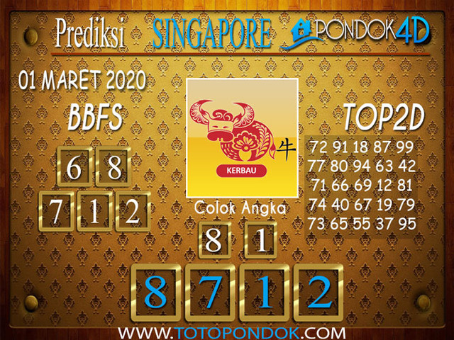Prediksi Togel SINGAPORE PONDOK4D 01 MARET 2020