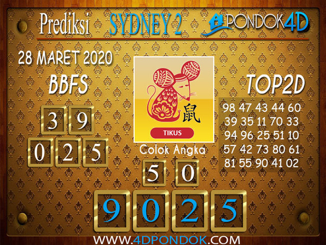 Prediksi Togel SYDNEY 2 PONDOK4D 28 MARET 2020