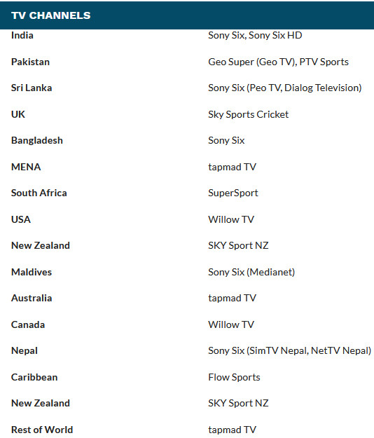 TV Channels For PSL 2021 Broadcast