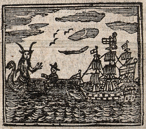 An image of a woodcut showing a sea devil threatening a ship.