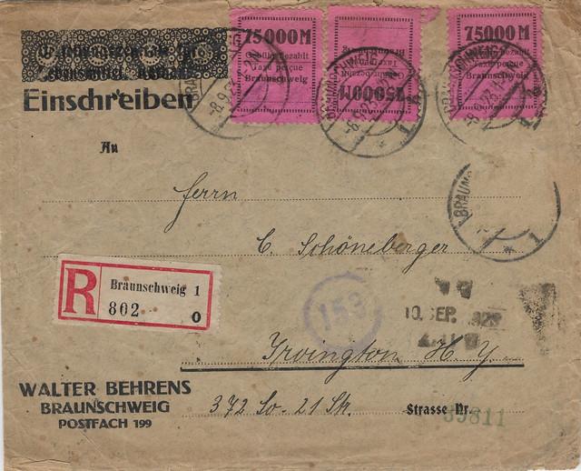 Germany-1923-9-8-REG-INFLA-to-Irvington-KY-USA-price-20