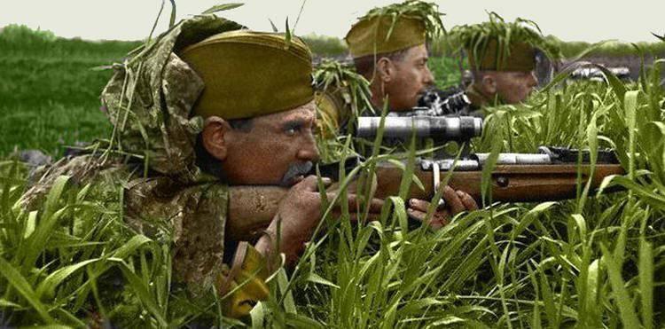 Soviet sniper in combat position