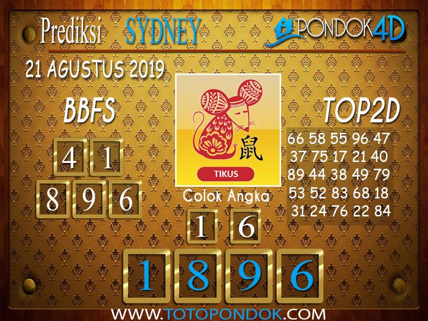 Prediksi Togel SYDNEY PONDOK4D 21 AGUSTUS 2019