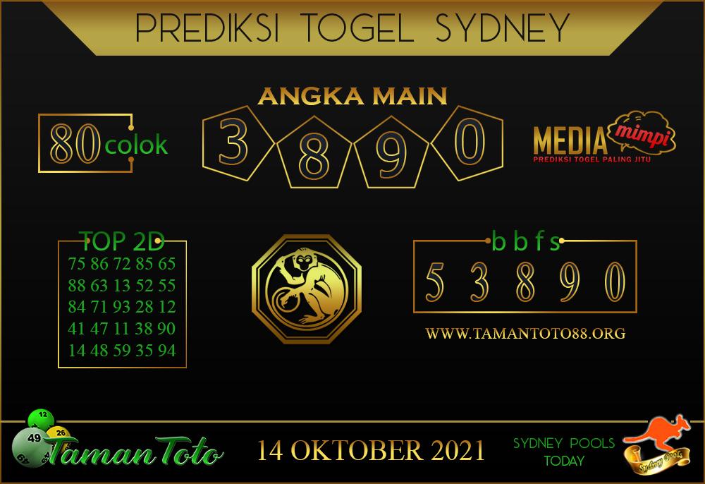 Prediksi Togel SYDNEY TAMAN TOTO 14 OKTOBER 2021