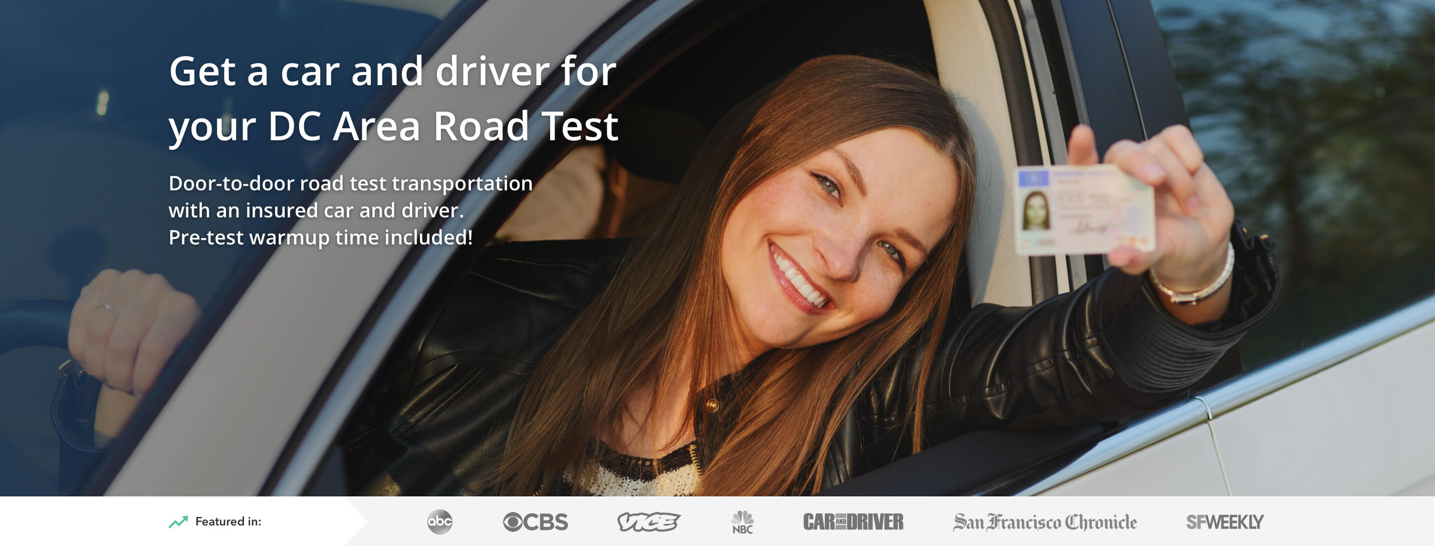 Get a car and driver for your Washington DC road test
