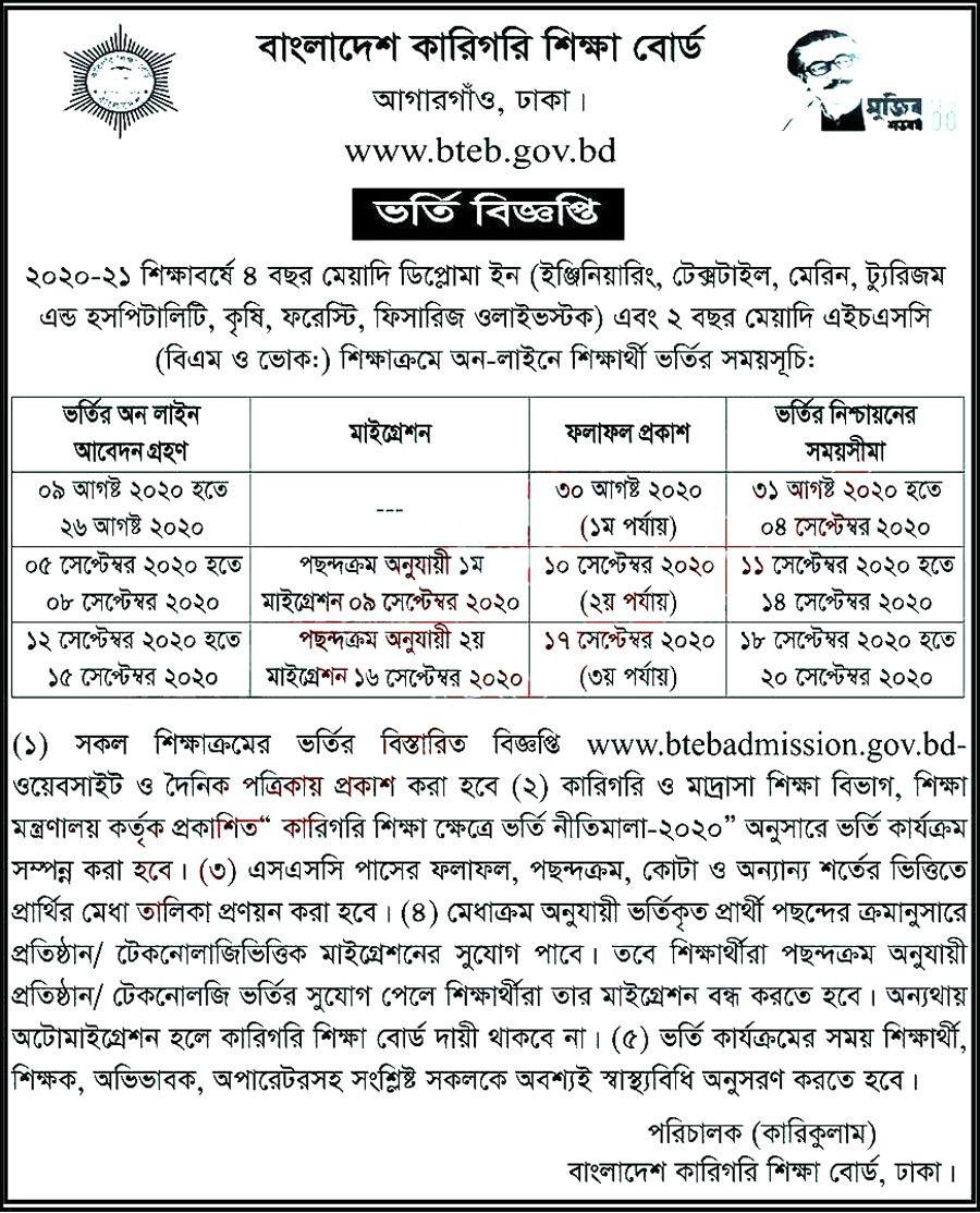 Pollytechnic Diploma Admission Circular