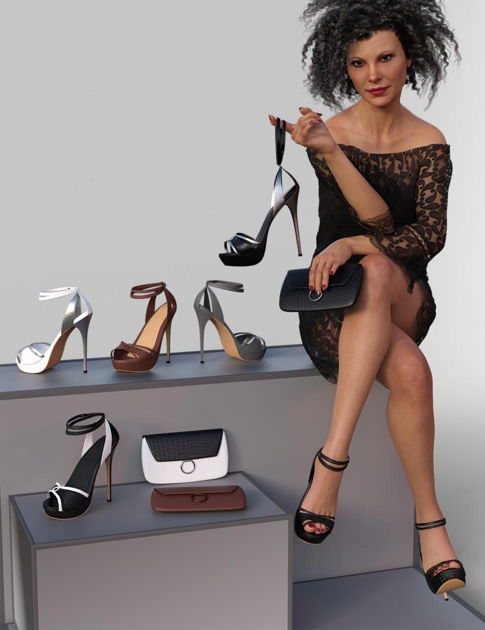 Chloe High Heels and Clutch for Genesis 8 Female(s)