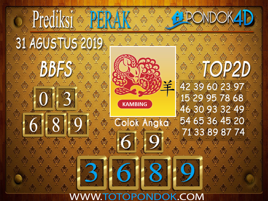 Prediksi Togel PERAK POOLS PONDOK4D 31 AGUSTUS 2019