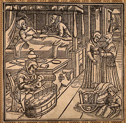 A woodcut image of a woman in bed recovering from childbirth.