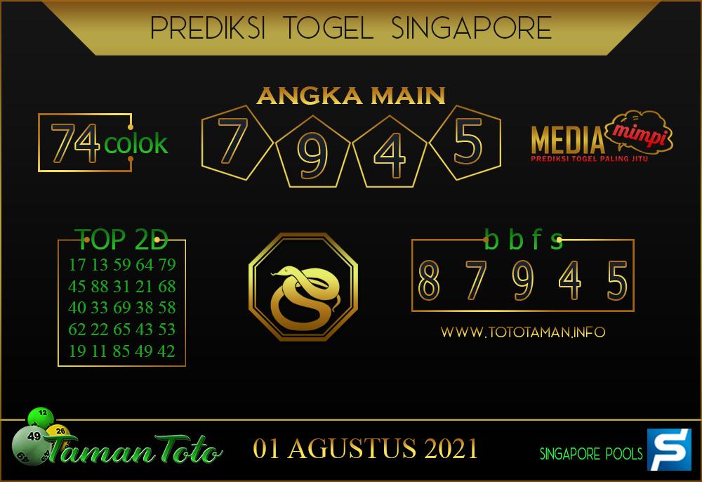 Prediksi Togel SINGAPORE TAMAN TOTO 01 AGUSTUS 2021