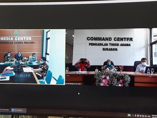 Tim PTA Surabaya Melakukan  Pengawasan dan Audit Mutasi Ketua Pengadilan Agama Secara Virtual