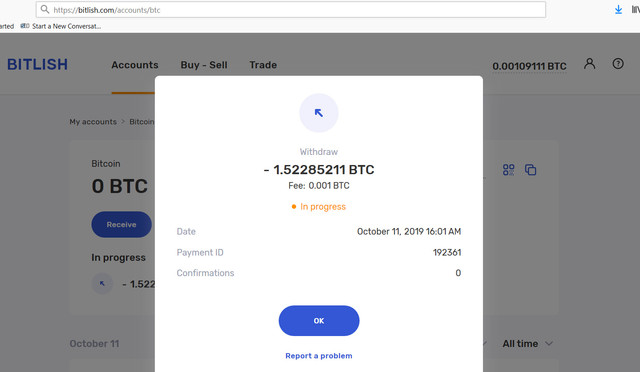 OCT 11 withdrawal.  received nothing till today.