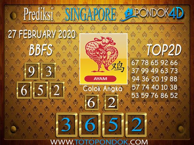 Prediksi Togel SINGAPORE PONDOK4D 26 FEBRUARY 2020