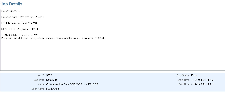 EPBCS - Data Map push fails with error code.... . Posts (489