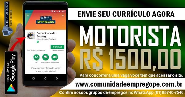 MOTORISTA C/D COM SALÁRIO R$ 1500,00 PARA EMPRESA DE SERVIÇOS NO GRANDE RECIFE