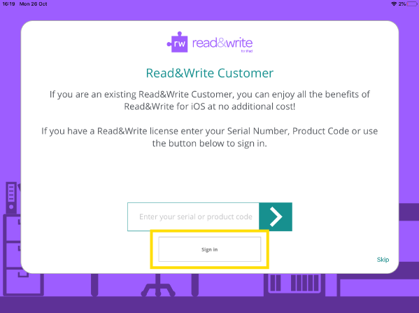 Read&Write iPad app set up wizard screen with white sign in button highlighted