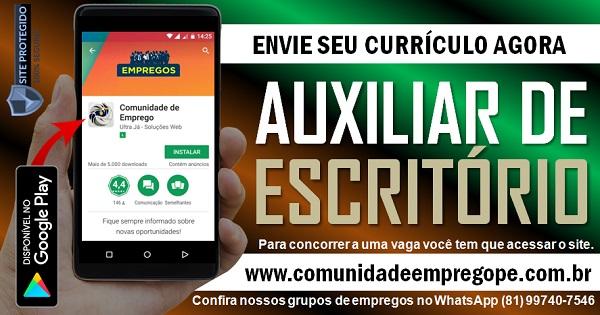 AUXILIAR DE ESCRITÓRIO COM SALÁRIO R$ 1045,00 PARA PESSOA COM DEFICIÊNCIA