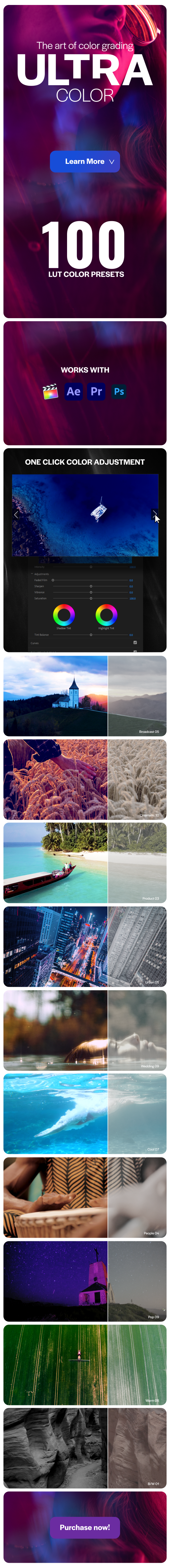 Ultra Color | LUTs pack for Any Software - 2