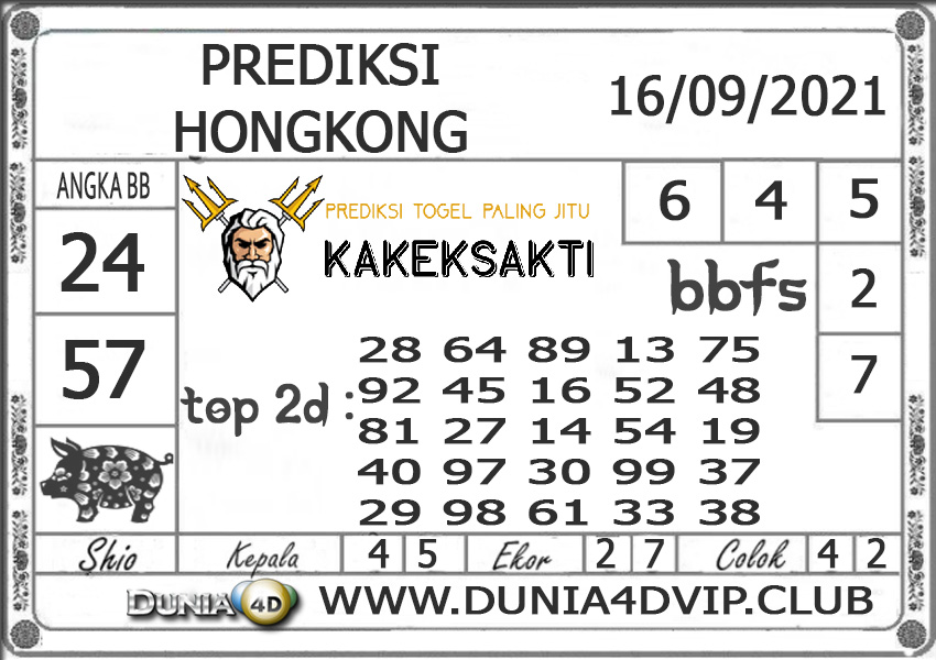 Prediksi Togel HONGKONG DUNIA4D 16 SEPTEMBER 2021