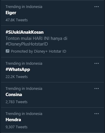 WhatsApp menduduki trending Twitter di Indonesia pada Jumat (29/1/2021) pagi
