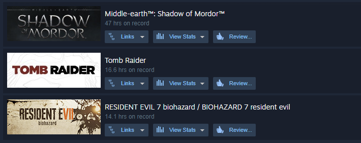 Resident Evil 7: Biohazard, Tomb Raider, Middle-earth: Shadow of Mordor