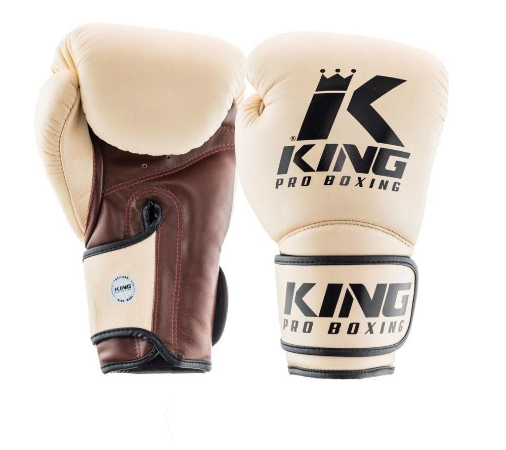 Боксерские перчатки King Pro Boxing Бежевые Кожа ( Таиланд )