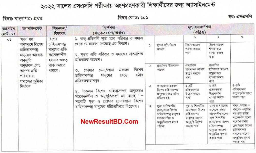 SSC 2022 Bangla 1st Week Assignment Answer