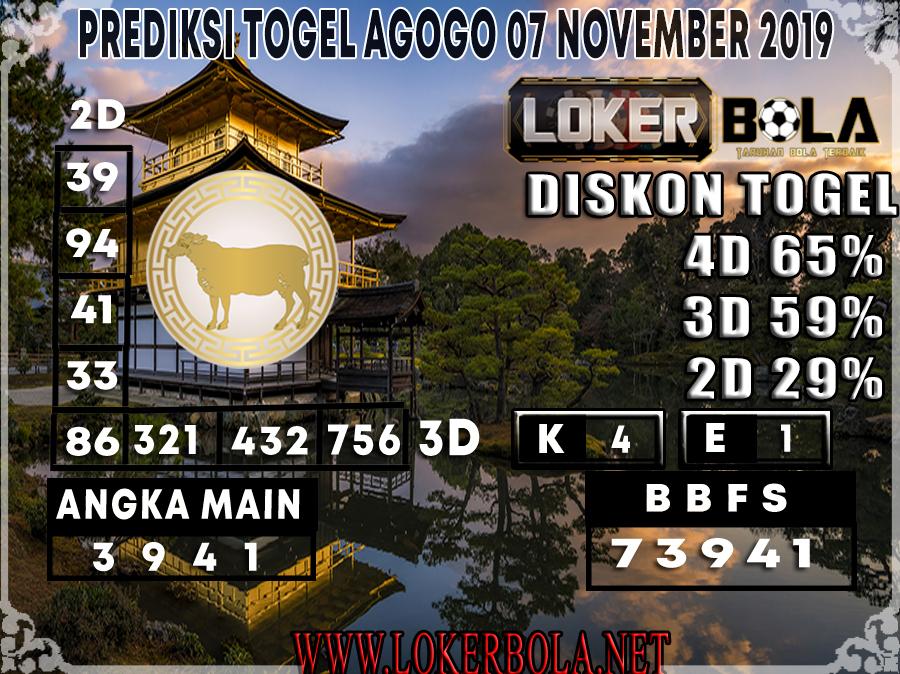 PREDIKSI TOGEL AGOGO LOKERBOLA 07 NOVEMBER 2019