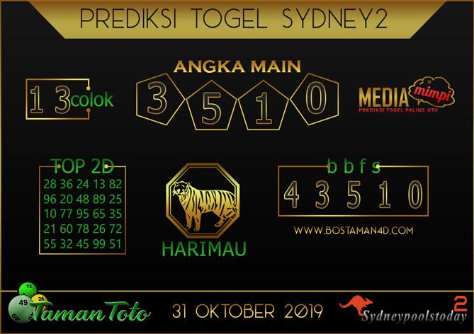 Prediksi Togel SYDNEY 2 TAMAN TOTO 31 OKTOBER 2019