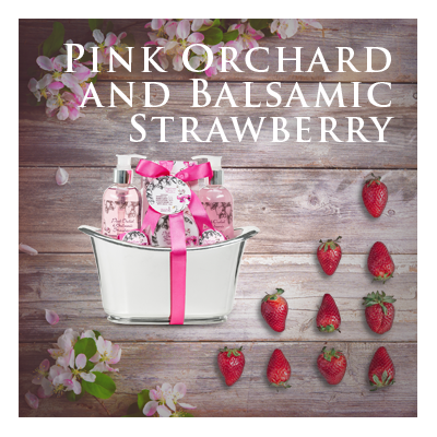 Bath Body and Spa Gift Sets in Relaxing Pink Orchard and Balsamic Strawberry Fragrance Perfect for Women