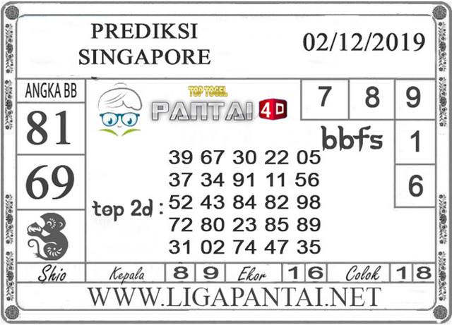 PREDIKSI TOGEL SINGAPORE PANTAI4D 02 DESEMBER 2019