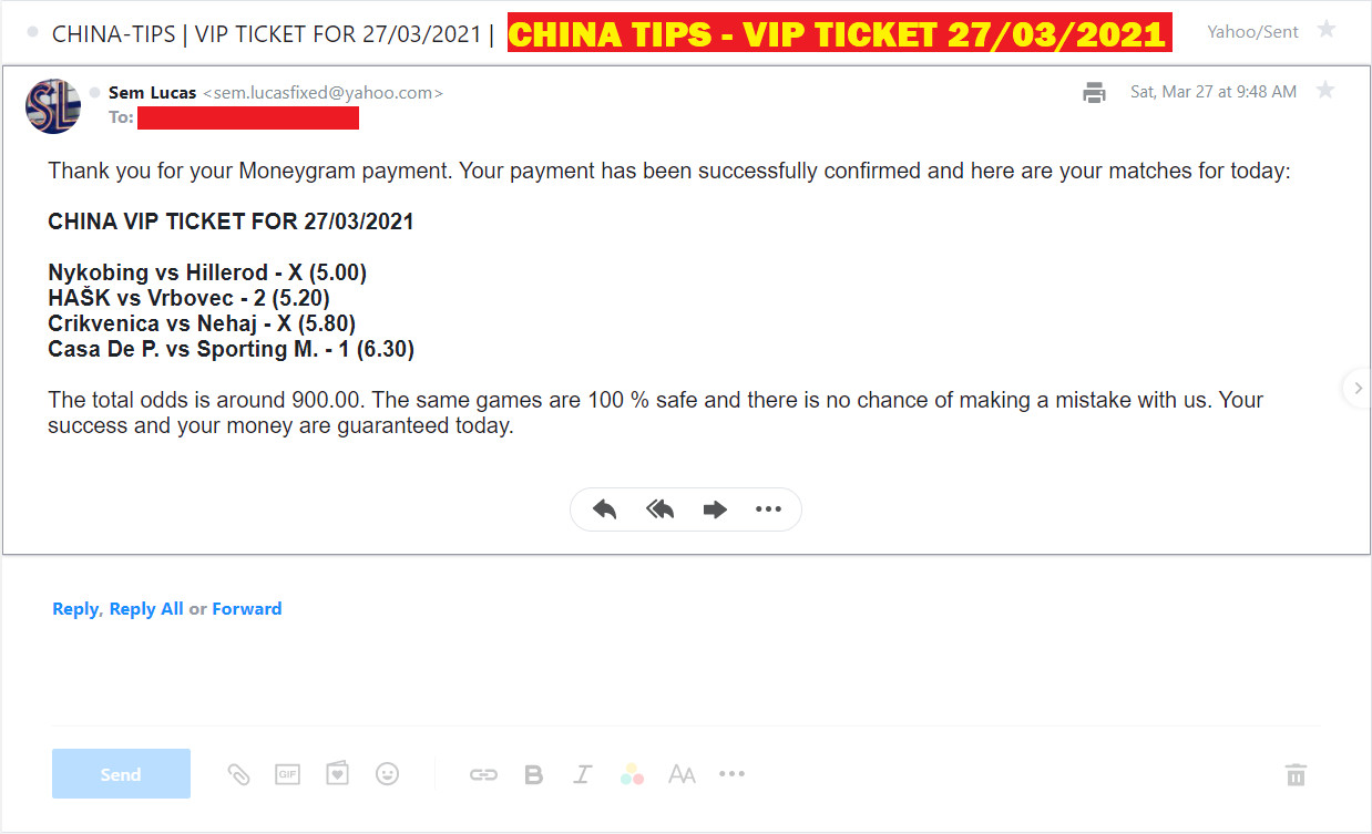 CHINA VIP TICKET FOUR FIXED MATCHES