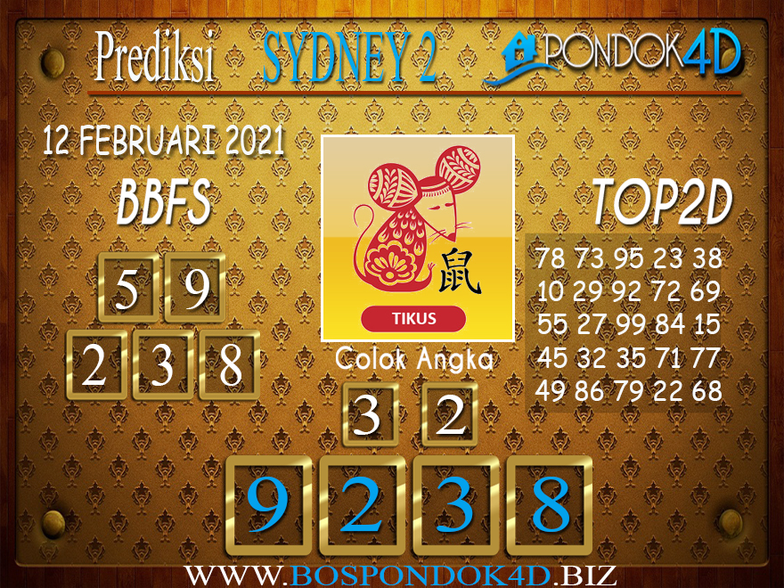 Prediksi Togel SYDNEY2 PONDOK4D 12 FEBRUARI 2021
